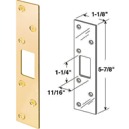 Defender Security Polished Brass 1-1/8 In. Heavy-Gauge Deadbolt Security Strike Plate