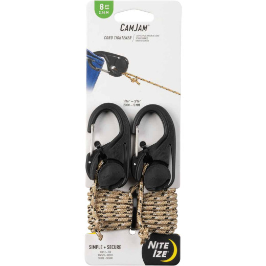 Nite Ize CamJam Rope Tightener with Rope, (2-Pack)