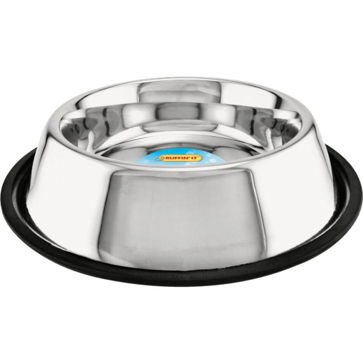 Westminster Pet Ruffin' it Stainless Steel Round 32 Oz. Non-Skid Pet Food Bowl