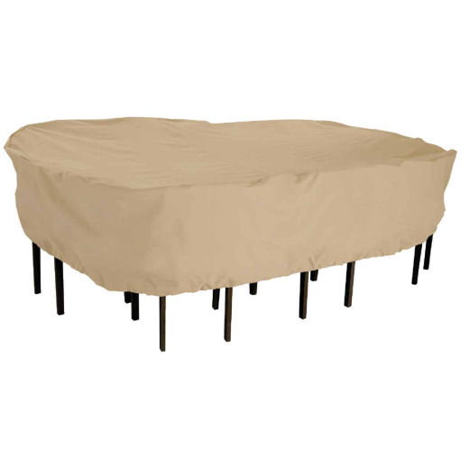 Classic Accessories 57 In. W. x 23 In. H. x 89 In. L. Tan Poly/PVC Table Cover